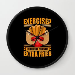 Exercise French Fries Sloth Sport Wall Clock