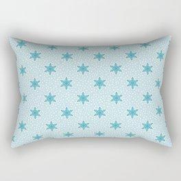Teal Blue Snowflake Pattern Rectangular Pillow