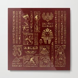 Egyptian hieroglyphs and symbols gold on red leather Metal Print