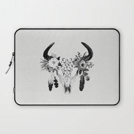 Floral bohemian watercolor animal stag head skull peach pink spiritual boho home wall decor Laptop Sleeve