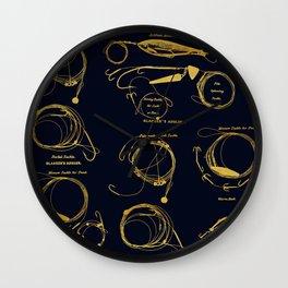 Maritime pattern- Gold fishing gear on darkblue background Wall Clock