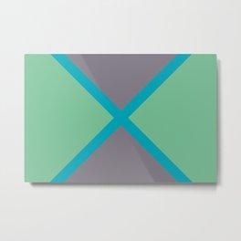 Blue-green Gray Green Diagonal Stripe Pattern 2021 Color of the Year AI Aqua 098-59-30 Metal Print
