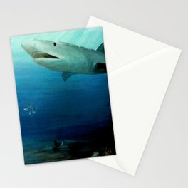 Shark Swimming by Fish in the Ocean Stationery Cards