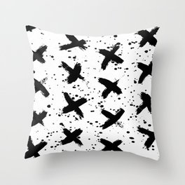 X Paint Spatter Black and White Throw Pillow