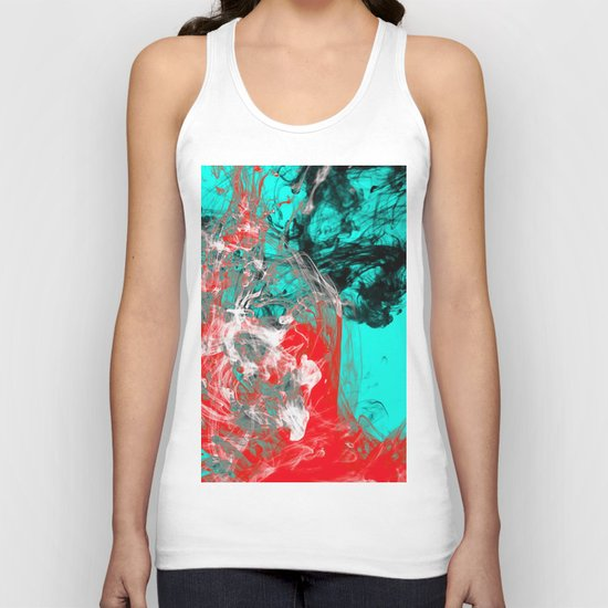 Marbled Collision - Abstract, red, blue, black and white mixed paint artwork Unisex Tank Top