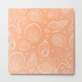 Sea shells illustration. White and coral blush pink. Summer ocean beach print. Metal Print