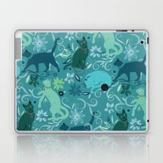 Floral cats, blue Laptop & iPad Skin