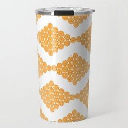 Orange Floral Doily Pattern Travel Mug