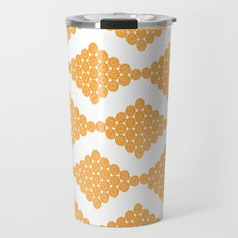Orange Floral Doily Pattern Travel Mug