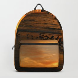 Gulls Gather On The Beach At Sunset Backpack