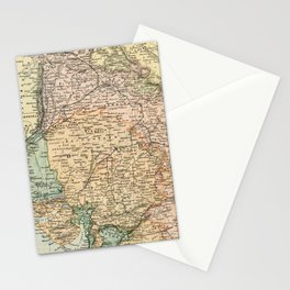 Vintage and Retro Map of India Stationery Cards