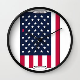 Indiana State - American Flag Wall Clock