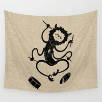 drums Wall Tapestries featuring Monster by Anya Volk