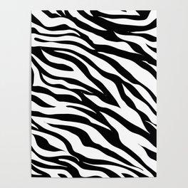 modern safari animal print black and white zebra stripes Poster