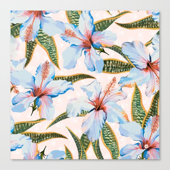 Tropical Pattern - Flowers and Plants Canvas Print