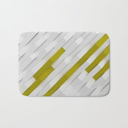 White matte plastic waves with Yellow elements Bath Mat