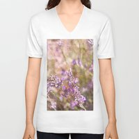 lavender V-neck T-shirts featuring Lavender by Tina Sieben