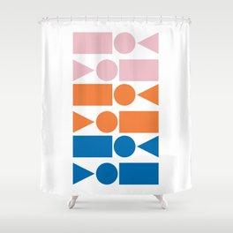 Retro Beach Vibes Geometry Shower Curtain
