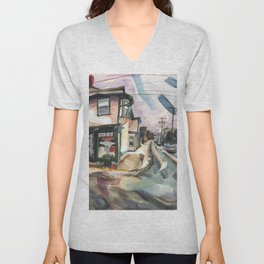 A brisk wind and melting snow mark the end of winter in Newport Unisex V-Neck