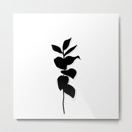 Plant silhouette line drawing - Evie layered Metal Print