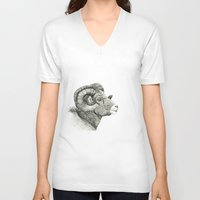 aries V-neck T-shirts featuring Aries by nimrodella