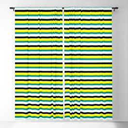 Vibrant Dark Cyan, Mint Cream, Black, and Yellow Striped Pattern Blackout Curtain