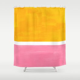 Pastel Yellow Pink Rothko Minimalist Mid Century Abstract Color Field Squares Shower Curtain