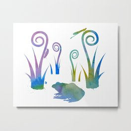 Frog And Insects Metal Print