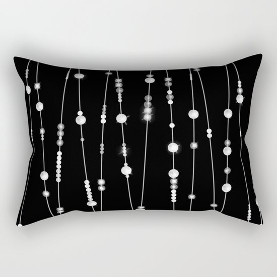 . Pearl beads on a black background Rectangular Pillow