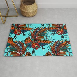rooster ink turquoise Rug
