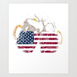 Beer American Flag T shirt 4th of July Merica USA Art Print
