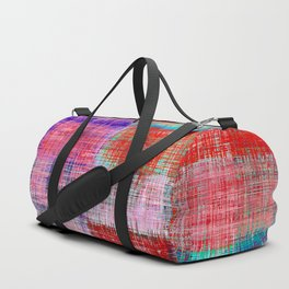 square plaid pattern texture abstract in red blue pink purple Duffle Bag