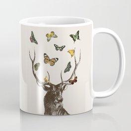 The Stag and Butterflies | Deer and Butterflies | Vintage Stag | Vintage Deer | Antlers | Woodland | Coffee Mug