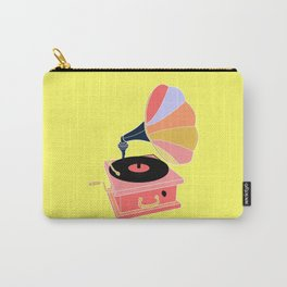 Multicolor Gramophone on Pale yellow Home Decor Room Furnishing Contemporary Wall Graphic Design  Carry-All Pouch