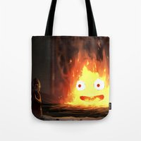 calcifer Tote Bags featuring Cálcifer by Kitexavier