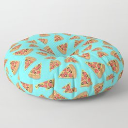 Pizza Party Blue Pattern Floor Pillow