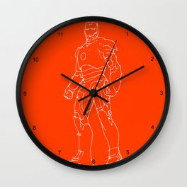 Iron man red orange background Wall Clock