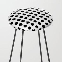 Black and White Minimal Minimalistic Polka Dots Brush Strokes Painting Counter Stool