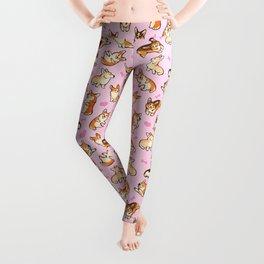 Lovey corgis in pink Leggings
