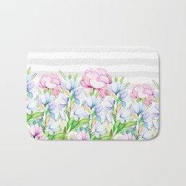 Modern watercolor pink lavender teal floral white stripes Bath Mat
