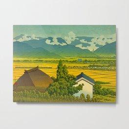 Kawase Hasui Vintage Japanese Woodblock Print Beautiful Mountain Valley Farmland Yellow Hues Metal Print