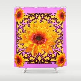 Pink Colored Golden Sunflowers Yellow Pattern Art Shower Curtain