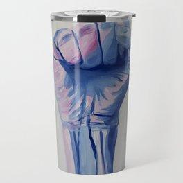 Resist fist, Trans Pride resist fist, Transgender art Travel Mug