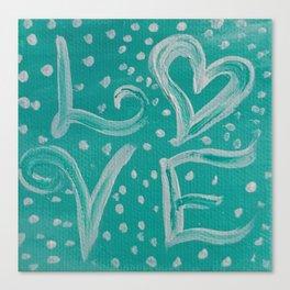 Teal Love Heart Canvas Print