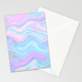 Sea Marble Candy Pattern - Violet, Aqua and Blue Stationery Cards