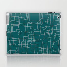 Decorative green and grey abstract squares Laptop & iPad Skin