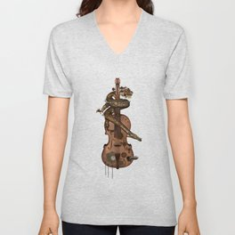 Steampunk violin with steampunk chinese dragon Unisex V-Neck