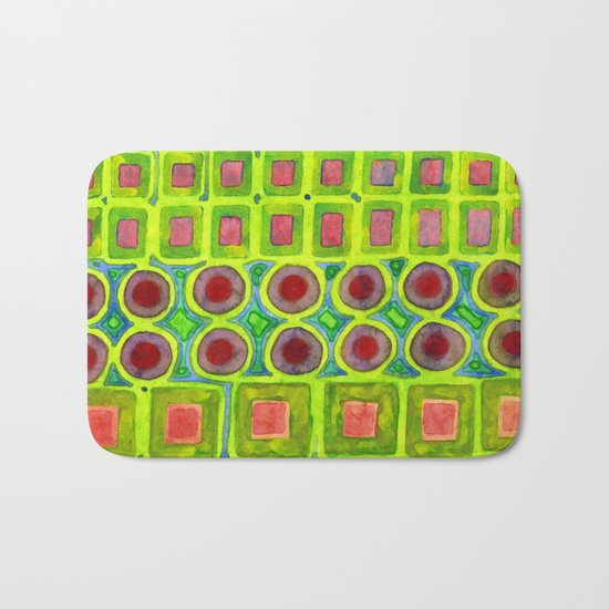 Connected filled Squares Fields Bath Mat