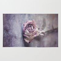depression Area & Throw Rugs featuring Dried Rose by Maria Heyens