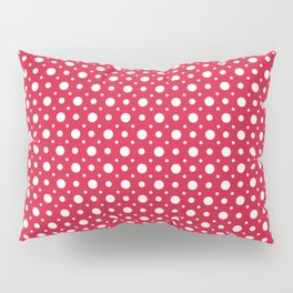 White dots on a red background. Pillow Sham